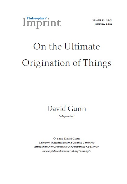 Origin of things - title page